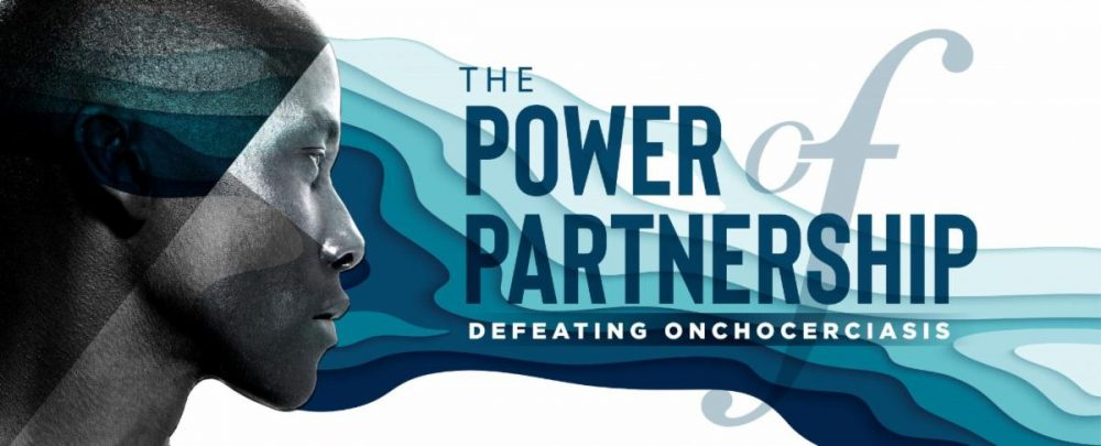 artwork for the Power of Partnership symposium. It shows a woman's face with blue waves symbolizing a river's waters