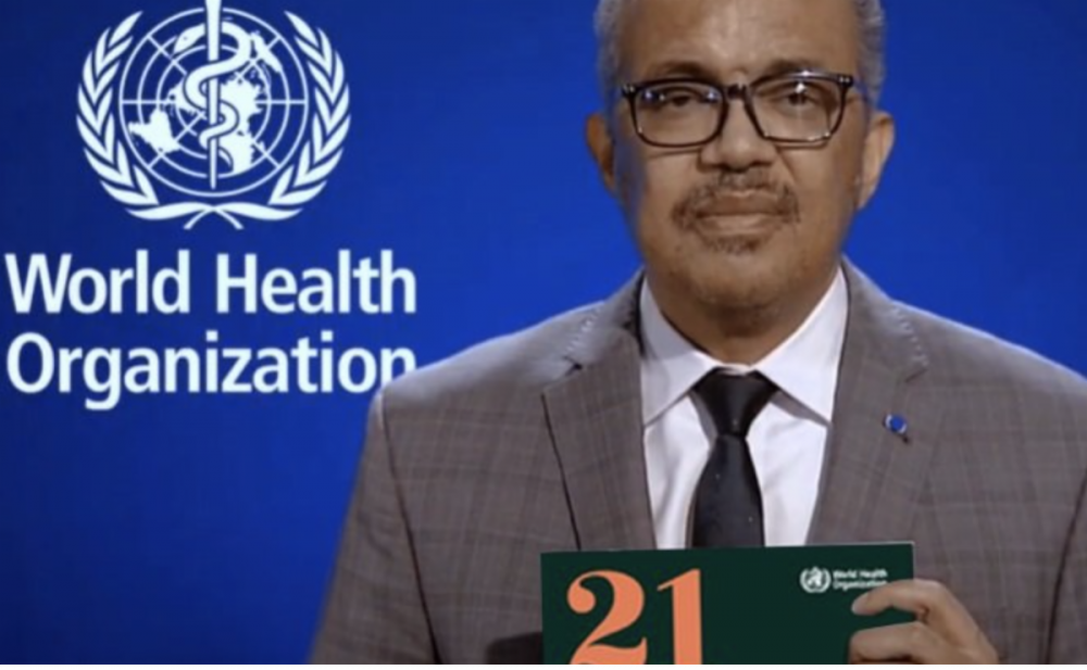Screen capture of the director general of W.H.O Dr. Tedros. He is holding the N.T.D. road map.